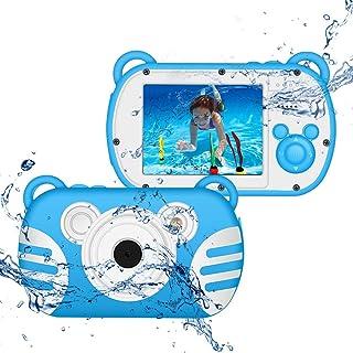 CamKing Cámara digital para niños bajo el agua Zoom digital HD I080P 8X Cámara de dibujos animados para niños con pantalla de 2.7 con flash Cámara preescolar Juguetes