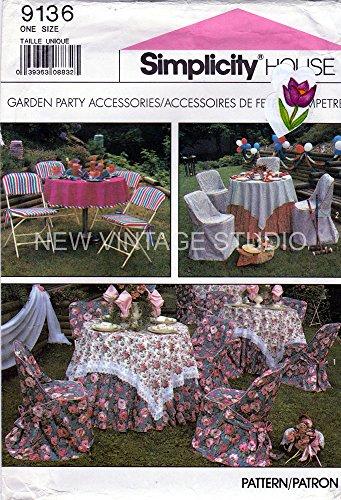 Patrón de Simplicity Casa 9136jardín accesorios de fiesta plegable silla cubre, manteles y servilletas