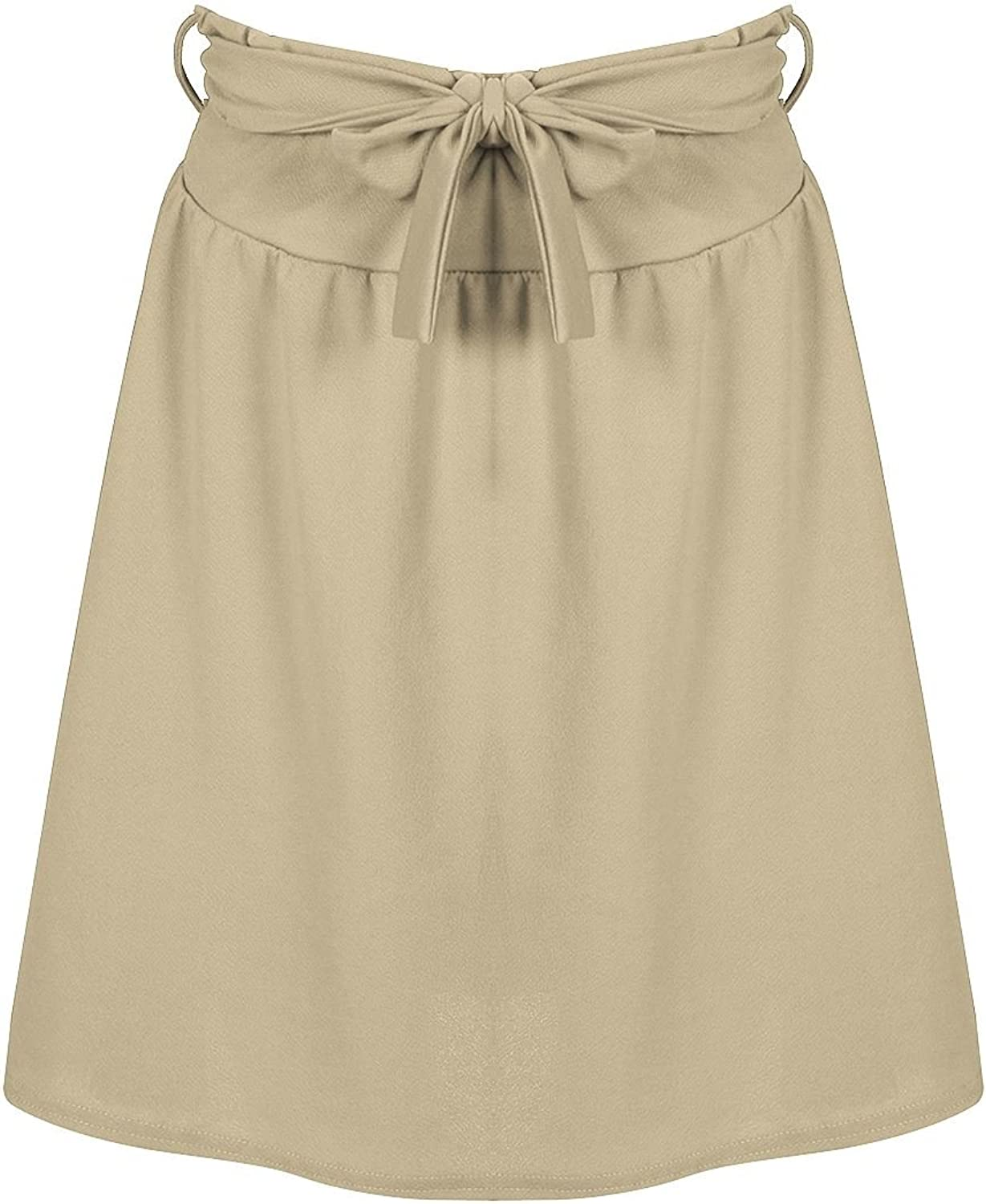 Be Jealous Womens Stretch High Waist Knot Tie Belted Swing Skater Flared Skirt