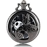 Keast Vintage Black Nightmare Before Christmas Quartz Pocket Watch with Chain