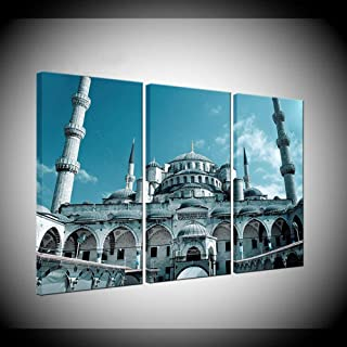 ZHFFYY Canvas Painting 3 Panel Ahmed Mosque Poster Modern Home Decorative Canvas Wall Art Print Painting 5 Pieces Sultan Istanbul Blue Mosque Pictures Artwork