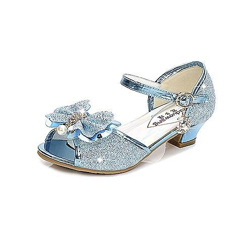 729cbf6c2d9b KISSOURBABY Princess Girls Low Heels Dress Shoes Kid Party Pumps Sandals