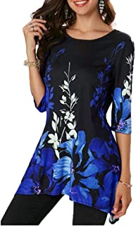 Huha Chemisier Femme Blouse 3/4 Manches T-Shirt Tunique Top Imprimé Col Rond Chemise S-5XL
