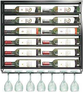 MWPO Estante para Botellas de Vino de Hierro metálico montado en la Pared y Soporte de Vidrio Estante de Almacenamiento d...