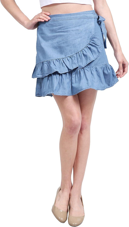 NE PEOPLE Womens Casual Swing Ruffle Frill High Waist Mini Skirts