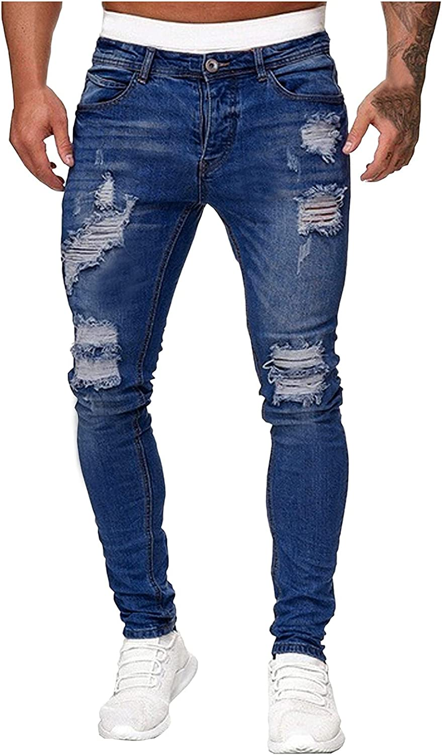 Beshion Stretchy Ripped Jeans for Men Distressed DestroyedtSkinny Stretch Jeans Pants Denim Pants with Broken Holes