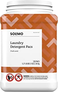 Amazon Brand - Solimo Laundry Detergent Pacs, Fresh Scent, 120 count