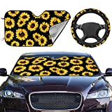 Sunflower 2pcs Car Front Sunshade Windshield and Steering Wheel Cover Set,Easy to Install,Universal Fit for Auto Truck Van SUV Protect Car Interior (Upgrade Hardened)