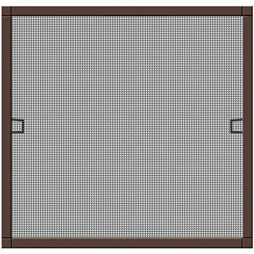 Schellenberg 70034 Insektenschutz-Fenster Alurahmen PLUS, Fliegengitter-Fenster mit Rahmen ohne bohren – 130 x 150 cm, Braun