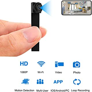 Hidden Spy Camera 1080P Wi-Fi, APP Controlled Nanny Cam Portable Security Cameras with 8 Hours Working Time/Motion Detection/Loop Recording