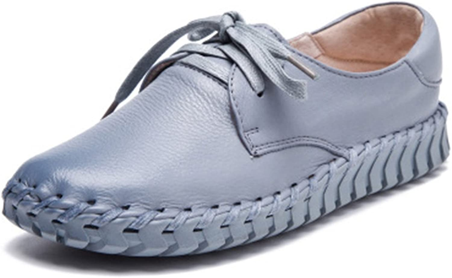 York Zhu Loafers for Women, Casual Slip on Flats Lace Up Moccasin Platform shoes