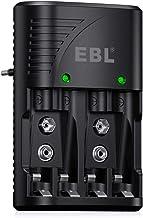 EBL Universel Chargeur de Piles AA/AAA/9V, Rapide Chargeur pour AA/AAA NI-MH ou 9V Piles Rechargeables avec Indicateur LED, 100-240V Tension Mondiale