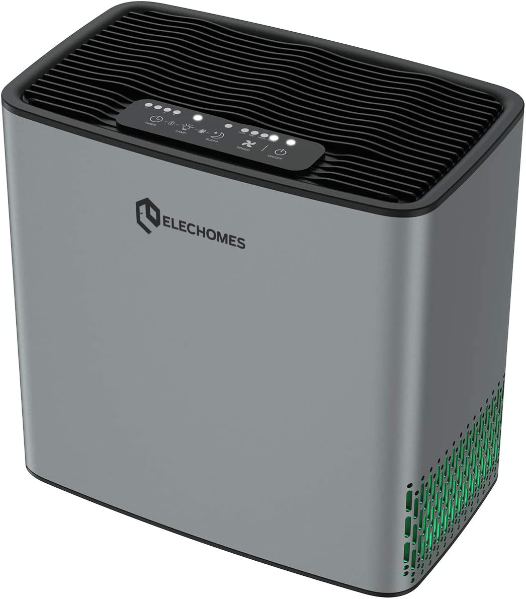 Elechomes P1801 Air Purifier for Dust Pollen Pets Hair Allergies Smokers, H13 True HEPA Filter, Auto Mode, Air Quality Sensor, 269ft², Desktop Air Purifier for Home, Bedroom, Living Room.