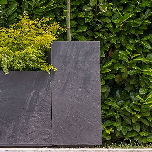 EDA Nouveau Pot carré Haut VOLCANIA Gris Anthracite Imitation décor Pierre