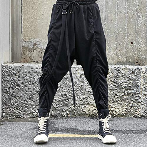 Dongwall Monos De Hombre Llegadas Hip Hop Pantalones Harem Hombres Streetwear Ribbon Joggers Hombres Casual AlgodóN Pantalones Deportivos para Hombre Pantalones Masculinos Talla úNica Negro