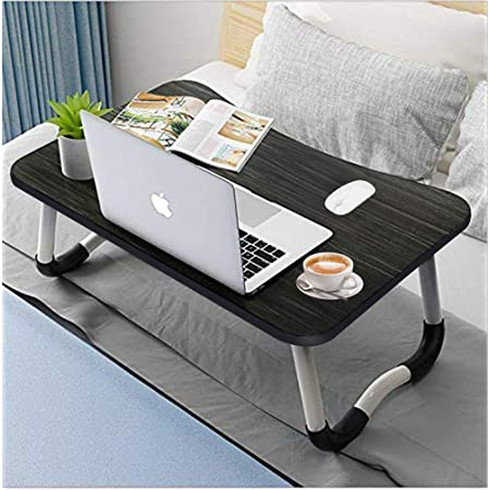 Watching Movie,Black Reading Book Foldable Bed Desk for Laptop and Writing,Portable Laptop /& Notebook Bed Table with Tablet Slots for Bed Eating Breakfast /& Snaps