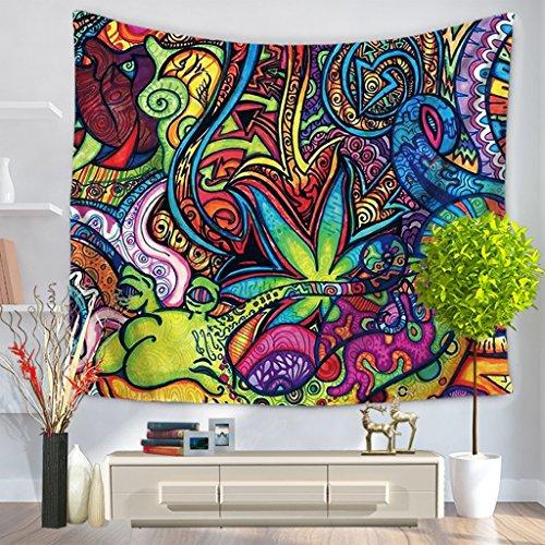NYDZ Psychédélique Indien Mandala Bohème Tapisserie Coloré Abstrait Trippy Tatouage Style Tenture Murale Décor Jet Plage Couverture pour Chambre Salon Décor (Color : E, Size : 200 * 150 cm)