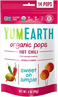 YumEarth Organic Hot Chili Lollipops, 3 Ounce (Pack of 6), 14 Lollipops per Pack