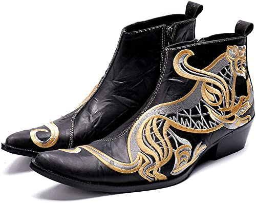 LOVDRAM Chaussures en Cuir Cuir pour Hommes Mode Hommes De Luxe Bottes en Cuir Véritable Bottes pour Hommes Italiens d'affaires Chaussures Habillées Slip-on Cowboy démarrage  bas prix