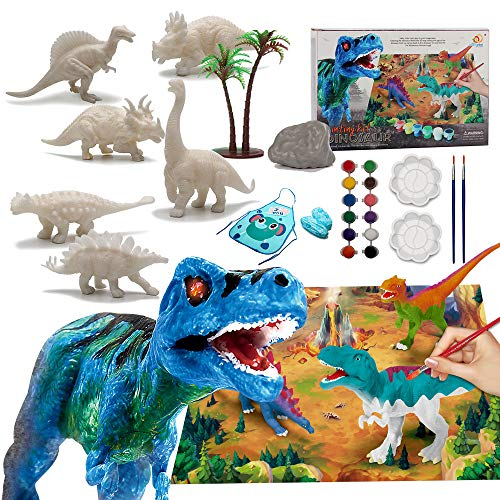 Lekebaby Dinosaur Painting Arts and Crafts Kit-Paint Your Own Dinosaur for Boys and Girls Age 3 and Up