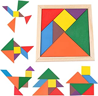 Mumoo Bear Samdone wooden Tangrams Puzzles, 7 Pieces Tangram Puzzle Book Set Toy Colorful for Children Educational Gift