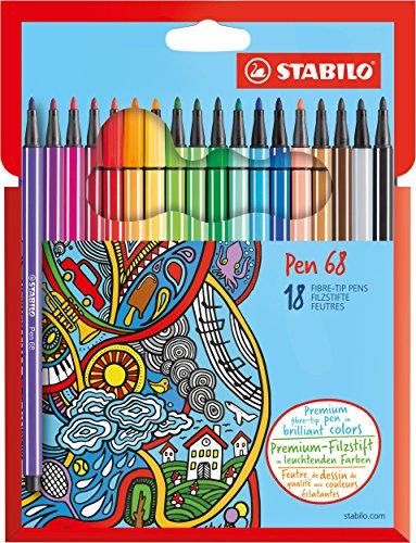 STABILO Premium-Filzstift - Pen 68 - 18er Pack - mit 18 verschiedenen Farben