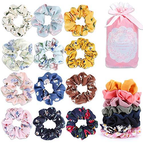 MOSOTECH 20 Stück Haargummis, Stylische Chiffon Haargummi Scrunchies, Elastische Gummibänder Haarband für Damen & Mädchen