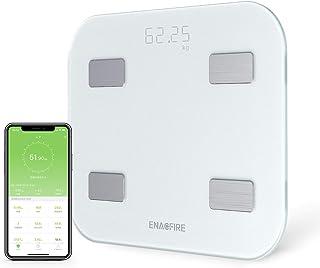 【進化版】体重計 体脂肪?体組成計 USB充電式体重計 Bluetooth対応 EnacFire 乗るだけで電源ON 体重/体脂肪率/体水分率/推定骨量/基礎代謝量/BMI/など簡単測定?同期 iOS/Androidアプリで 健康管理?肥満予防?体重管理 日本語取扱説明書付き ヘルスケア?Fitbit?Google Fitと連携 ホワイト