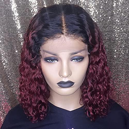 Peluca de encaje frontal teñido degradado rojo vino corto rizado dorado cabeza de soplo cubierta de pelo de fibra química negra africana