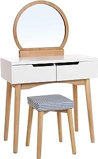 Songmics RDT11K-Tocador (2 cajones Gruesos con raíles Espejo Ovalado Cubierta Lavable) Color Blanco y Natural Madera ...