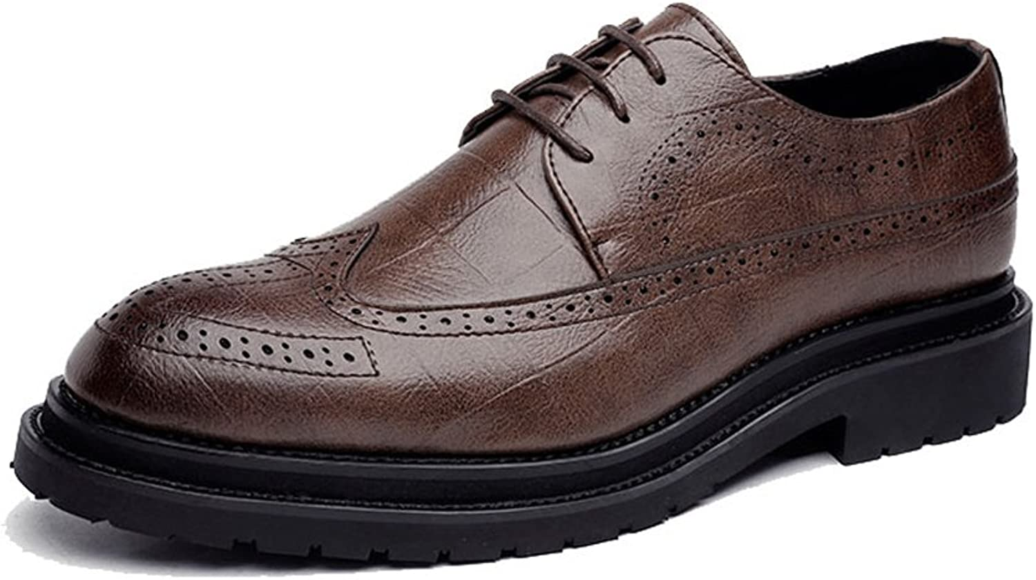 ZLQ Men's PU Leather shoes Classic Lace Up Breathable Square Texture Formal Business Lined Oxfords Breathable shoes