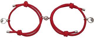 2Pcs Couple Bracelet Friendship Rope Braided Distance Magnetic Wrist Chain coppia braccialetto amicizia corda intrecciata ...