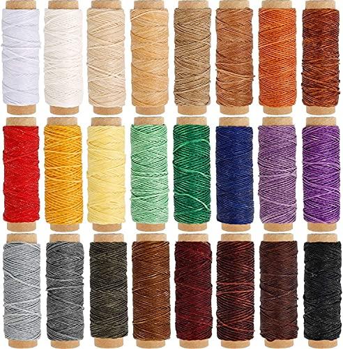 YanHui-LZC Hilos de bordado, 24 colores de cuero plano para coser hilo encerado, cada uno de 30 metros para proyectos de arte y manualidades (tipo lateral: sin lado)