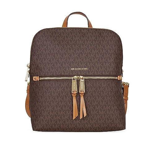 MICHAEL Michael Kors Rhea Medium Slim Backpack (Signature Brown) ea71ef819f7bf