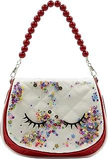 Cute Unicorn Kids Dress Up Purse for Little Girls Leather Glitter Beads Crossbody Shoulder Handbag Wallet