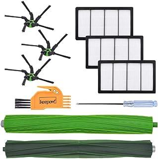 KEEPOW ルンバs9+ アイロボット ロボット掃除機用 交換パーツキット 交換用エッジクリーニング ダストカットフィルター デュアルアクションブラシ iRobot Roomba s9+と互換性がある消耗品 交換アクセサリー(9セット)