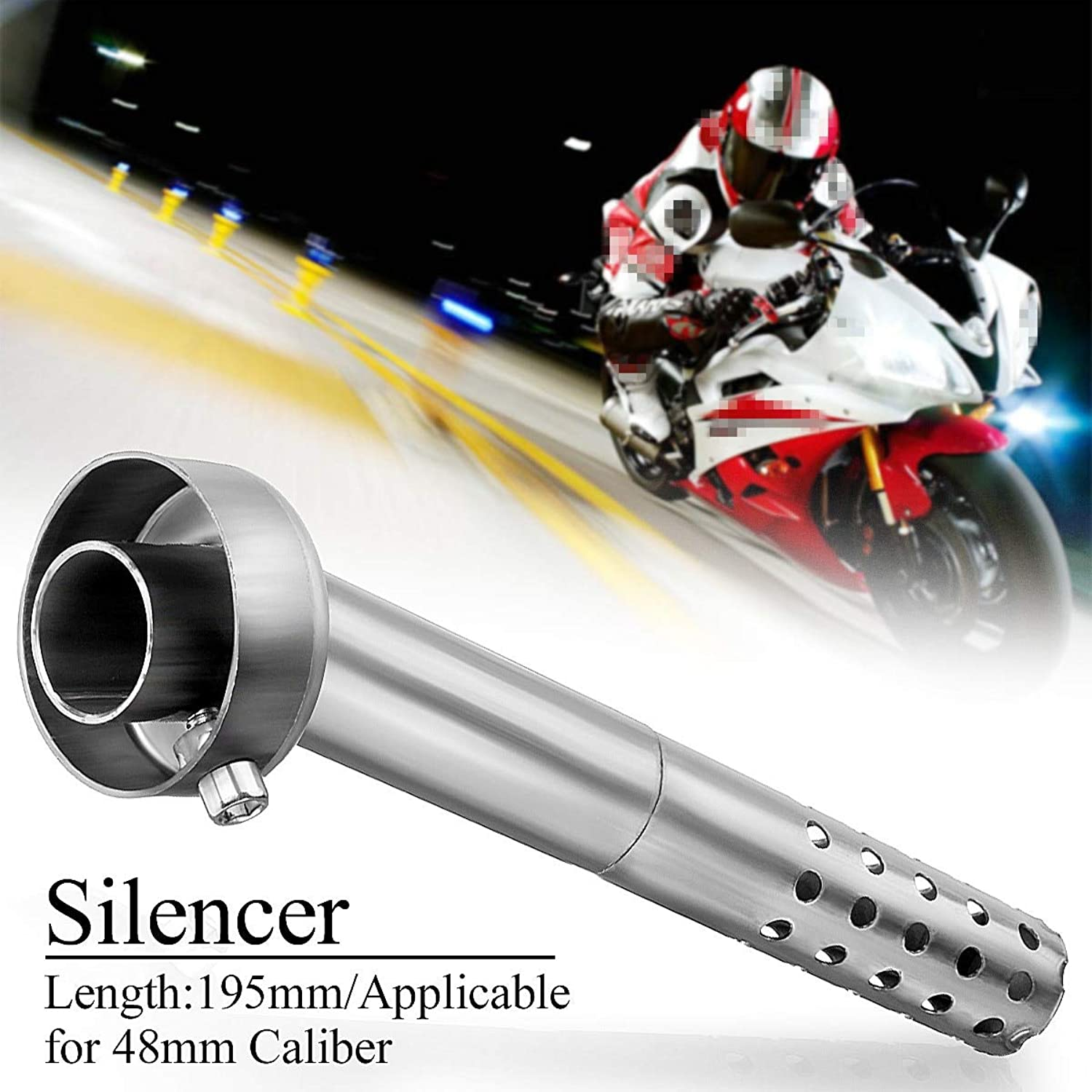 Gift4Car  48mm 19.5cm Motorcycle Exhaust Muffler Angled Silencer Can Insert Baffle 195mm Length Replacement