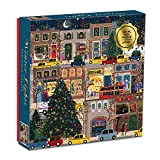 """Galison Winter Lights Foil Puzzle, 500 Pieces, 20"""" x 20"""" – Holiday Jigsaw Puzzle Featuring a Festive City Scene by Joy Laforme – Thick, Sturdy Pieces, Challenging Family Activity, Great Gift Idea"""