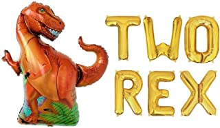 Two Rex Letters Dinosaur Balloons Set,2 Rex T Rex TRex 2nd Dinosaurs Theme Birthday Party Balloon Banners Decorations Roar Rawr Sign Banner Dinos Decor Suppies
