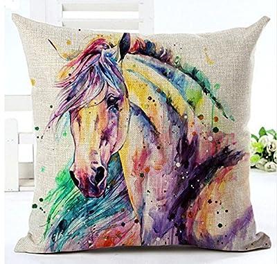 "LYNZYM Cotton Linen Square Throw Pillow Case Decorative Cushion Cover Pillowcover for Sofa 18""X 18"" Horse"