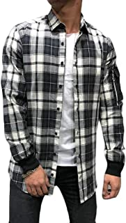 YYG Mens Relaxed Fit Plaid Print Button Up Casual Long Sleeve Blouse Shirt Checkered Shirt