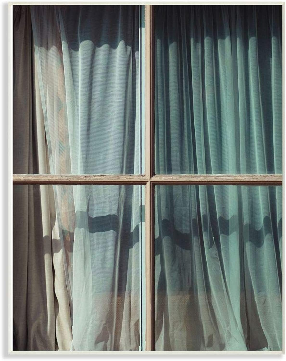 The Stupell Home Decor Collection pap-102_wd_12x18 Old Window Curtain bluee Cyan Photography Wall Plaque Art, 12 x 18