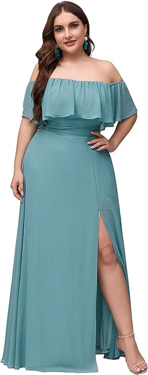 Plus Size Retro Dresses 50s, 60s ,70s, 80s, 90s Ever-Pretty Womens Plus Size Off Shoulder Side Split Chiffon Maxi Dress 0968PZ  AT vintagedancer.com