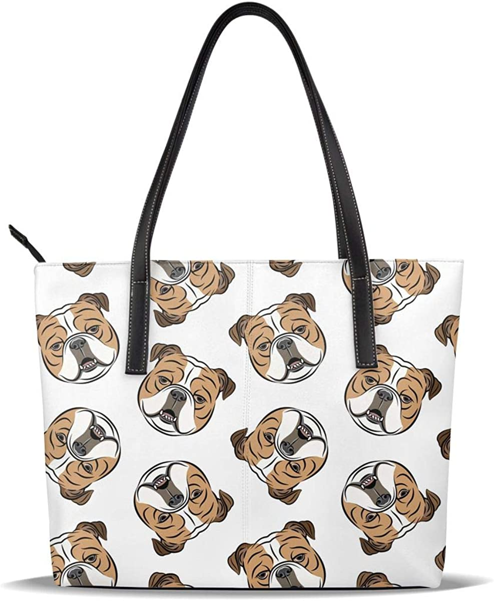 English Bulldog Dog Cute Funny Fawn Super-cheap PU Leather Sales of SALE items from new works Pat Printed White