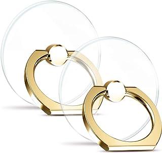 【2個入り】スマホリング 透明 薄型 ホールドリング 落下防止 リング 回転 バンカーリング iPhone/Android各機種対応 (ゴールド)