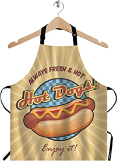 Sponsored Ad - WONDERTIFY American Hot Dog Apron,Sandwich with Ketchup and Mustard Poster Brown Bib Apron with Adjustable ...