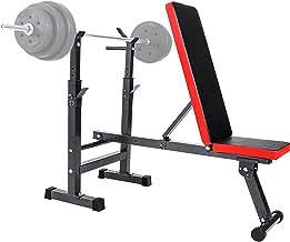 Halterbank met Halterhouder en Verstelbare Rugleuning, Multifunctionele Gewicht Bench voor Full Body Workout Multifunction...