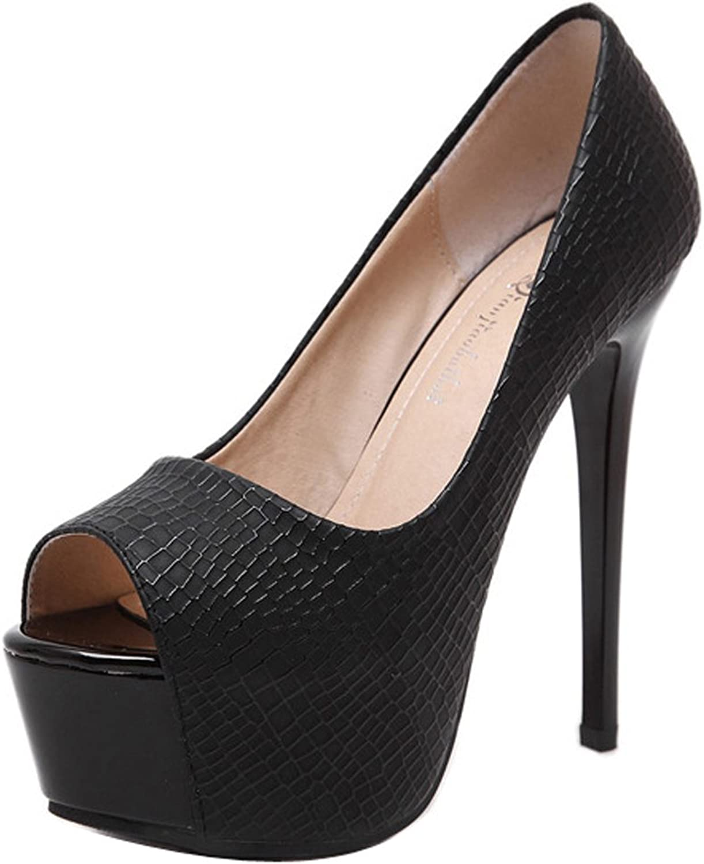 Ladola Womens Business Platform Peep-Toe Light-Weight Urethane Pumps shoes