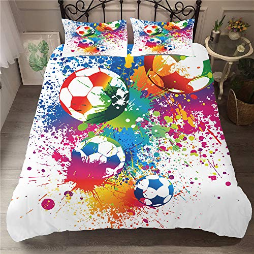 Anby 3pcs Single Bedding Duvet Cover Set Sized 135 * 200cm + 50 * 75cm, 3D Football Graffiti Bed Cover & Pillowcase