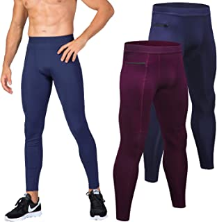 Lavento Men's Compression Pants Pocket Baselayer Cool Dry Ankle Leggings Active Tights